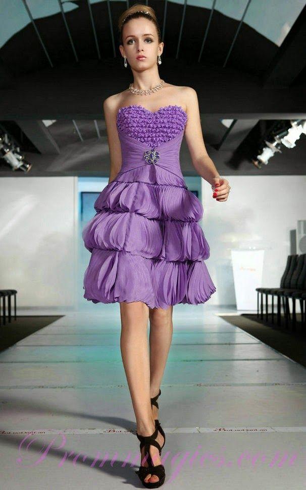 Modelos de Vestidos Cortos de color Morado | Mujer - trajes fiesta ...