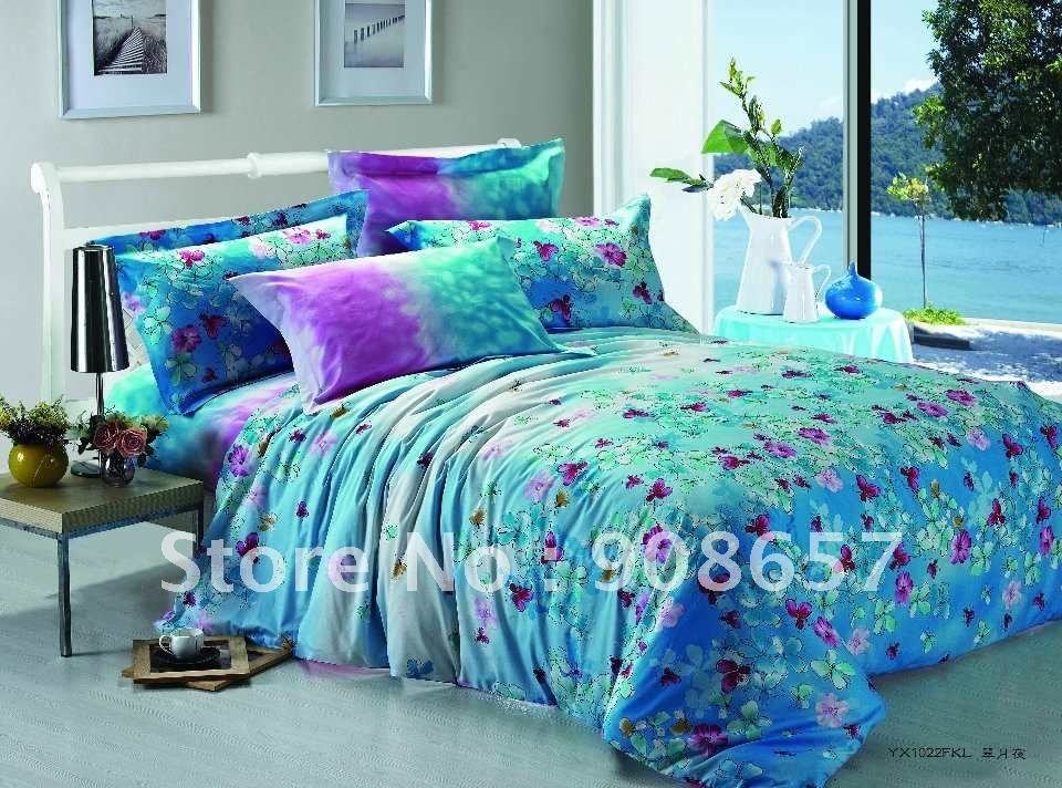 500 thread count Turquoise purple floral prints cotton girls