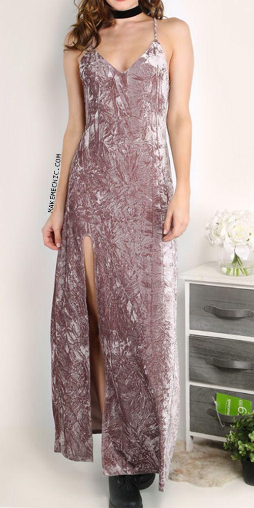 0ba3dd3b5c39 High Slit Velvet Slip Maxi Dress MAUVE | MakeMeChic.COM | Make Me ...