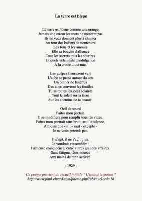Paul Eluard, La terre est bleue comme une orange, 1929 | Soul made ...