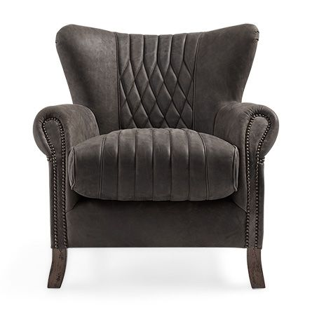 Roadster 34 Leather Chair in Storm Slate Arhaus Furniture