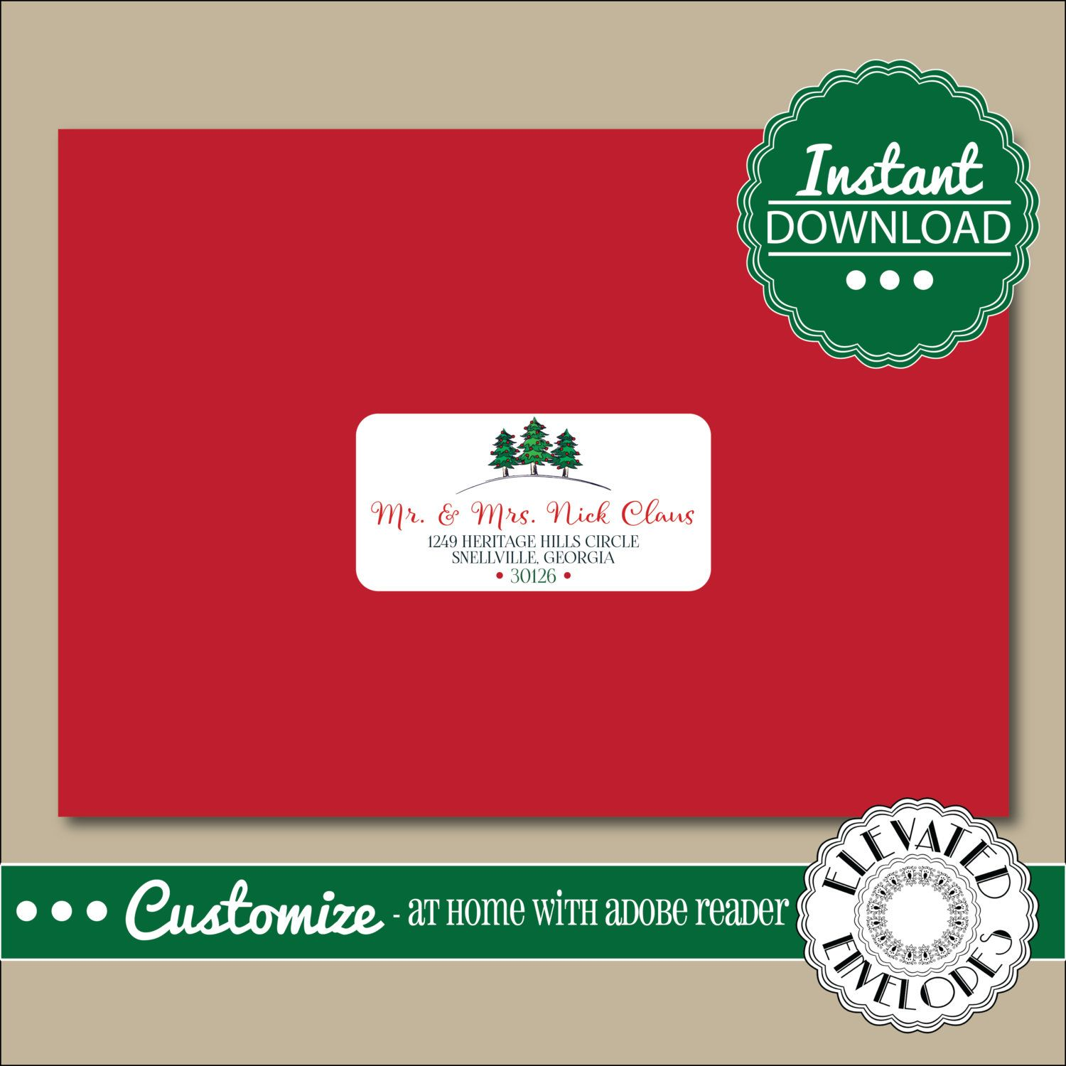 EDITABLE ADDRESS LABEL Template,Envelope Addressing,Christmas,Tree ...