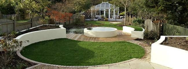 Curved, Rendered Raised Flower Beds   Nice Design (more In Their Gallery)  Wealden Landscape Designs   Experts In Landscape Garden Design, ...