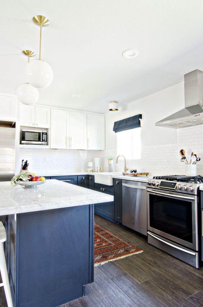 BrittanyMakes Kitchen With Brass Cedar U0026 Moss Alto Globe Pendants