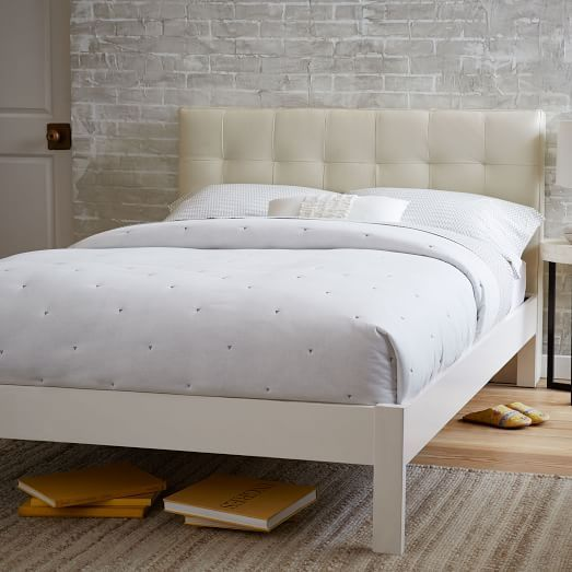 Low Grid Tufted Headboard Simple Bed Frame Queen Ivory 898
