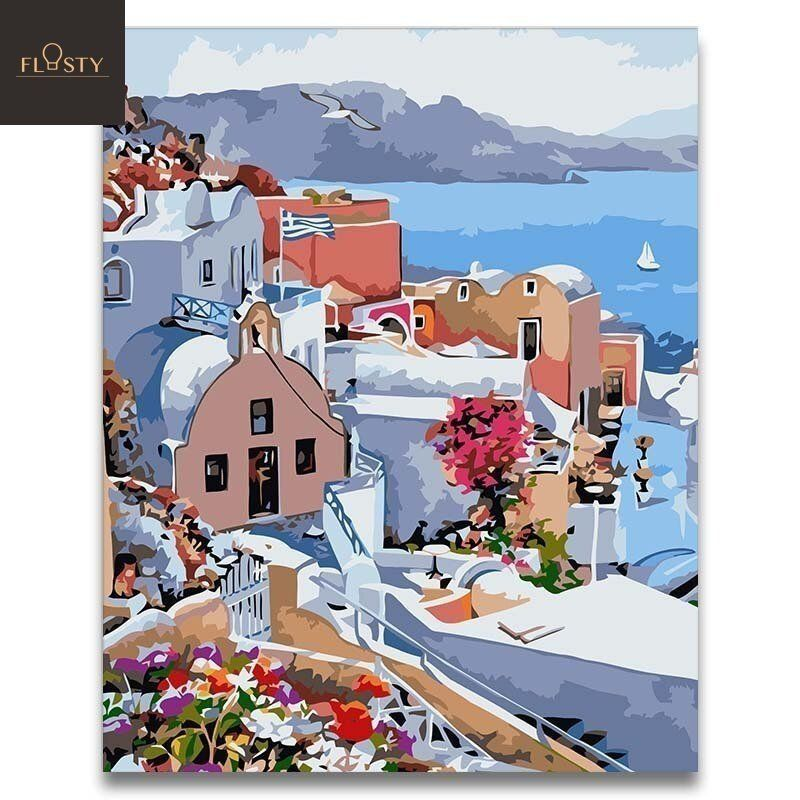 Paint By Numbers Greece Seaview 3 Flostypaintbynumbers Paint By Number Painting Buying Paint