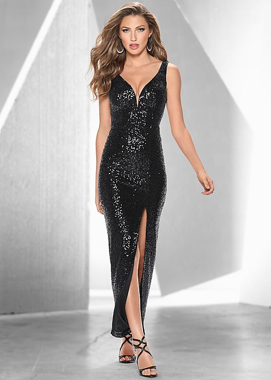 a49e06f7de BLACK Sequin dress with slit from VENUS | For that party I have to ...
