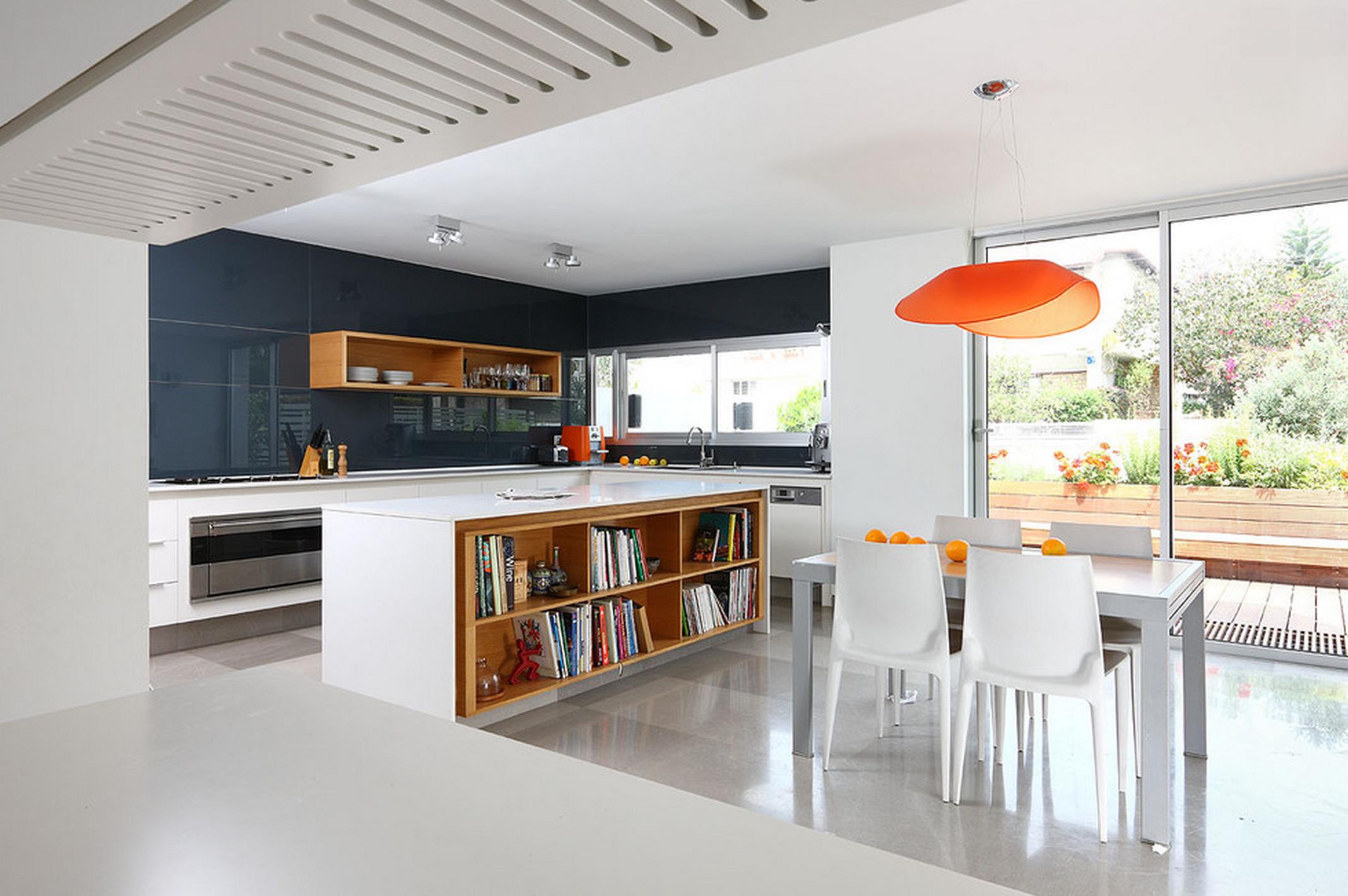 White Kitchen Orange Accents modern kitchen with open shelves, petrol blue splashback and white