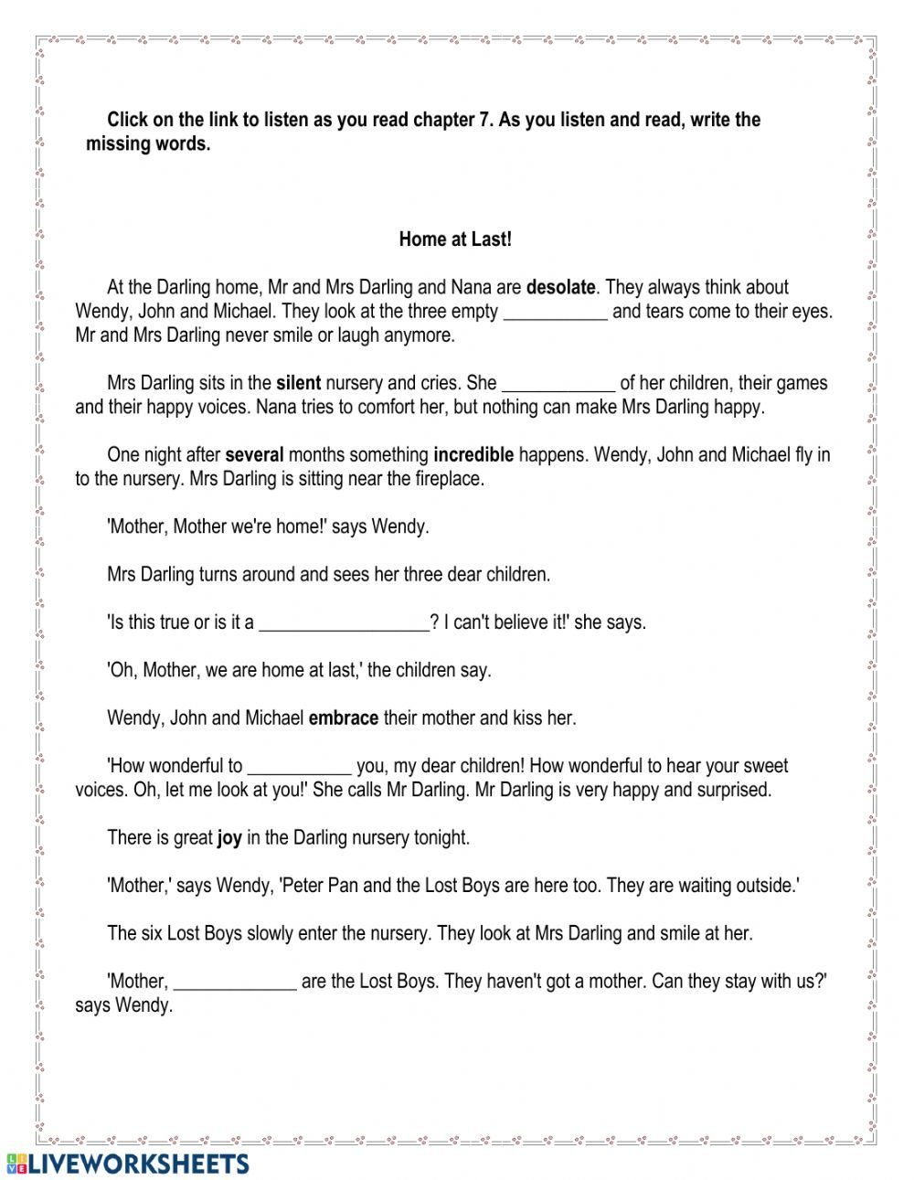 Peter Pan Chapter 7 Interactive Worksheet Vocabulary In Context Reading Comprehension Esl Reading