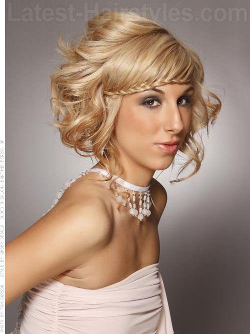 Cute Short Hair Braid Styles : Fringe braid high volume medium style with funky front side