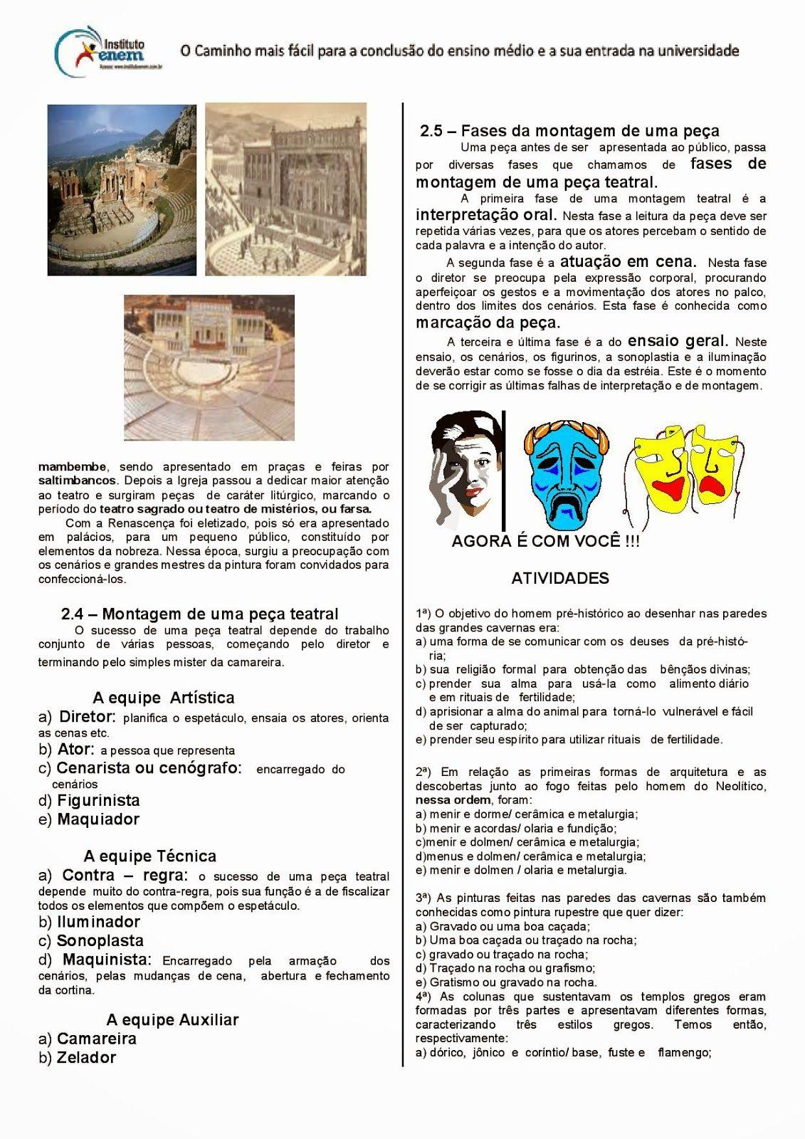 Atividades Artes Visuais Teatro Musica Ensino Medio Exercicios