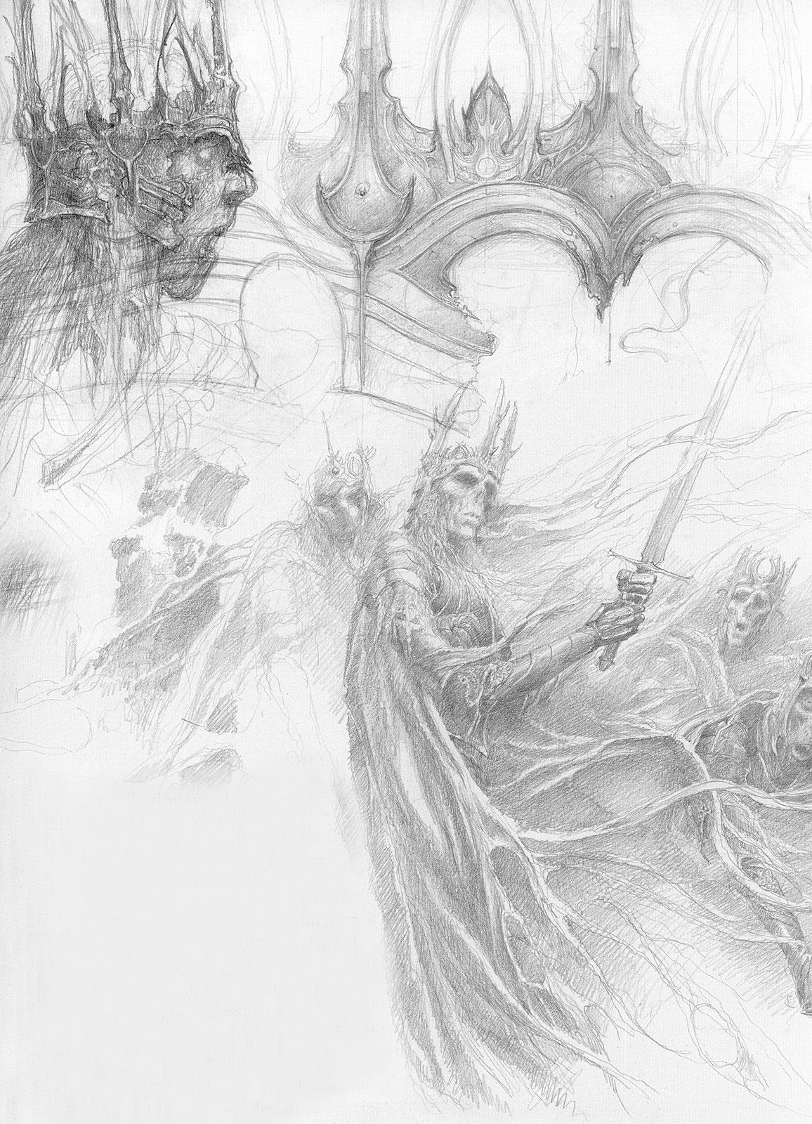 Alan Lee sketches for The Lord of The Rings   Ak-Van & Halkkane ...