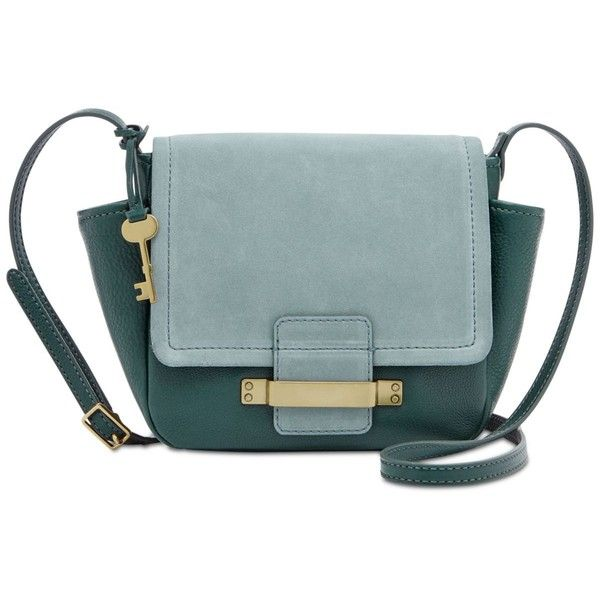 5f376b545 Fossil Ava Small Crossbody (570 PLN) ❤ liked on Polyvore featuring bags,  handbags, shoulder bags, alpine green, blue leather purse, fossil purses,  fossil ...