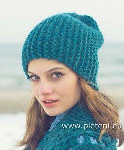 Vroubkovaná čepice petrolejové barvy – PLETENÍ – NÁVODY  d40b5909c9