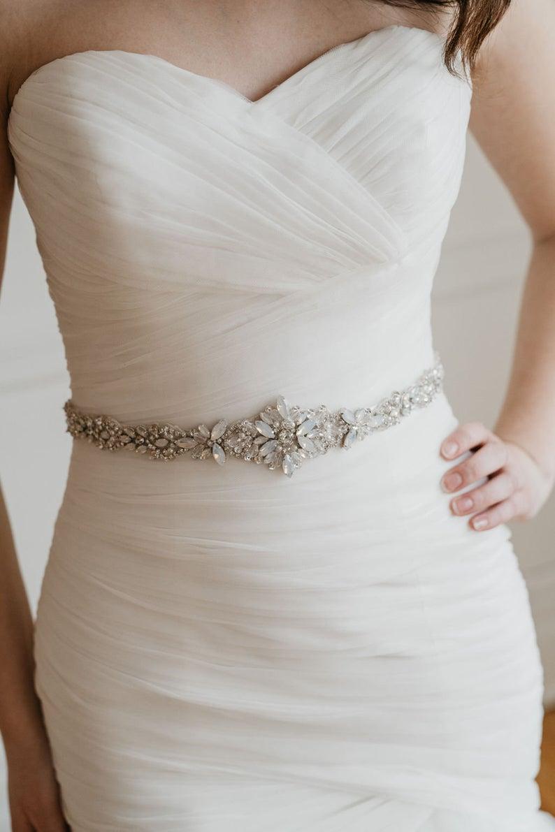 Crystal belt~Wedding sash~Wedding belt~Opal bridal belt~Rhinestone belt~Dress sash~Wedding dress~