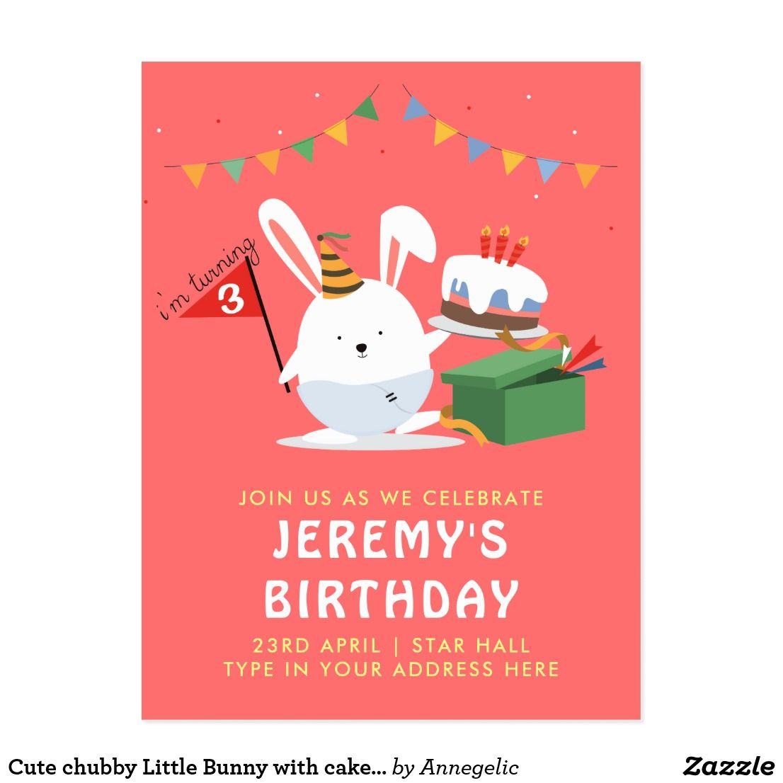 Cute chubby Little Bunny with cake birthday party Invitation ...