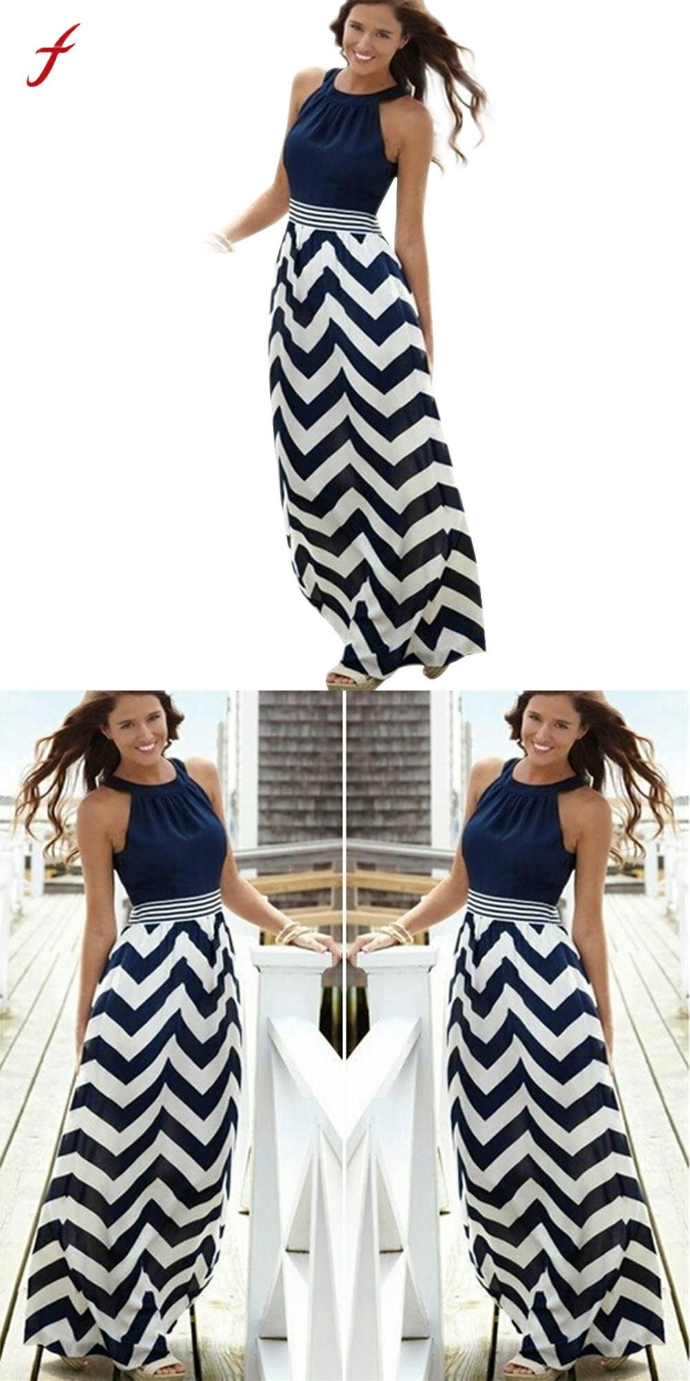4f1125e4f1 Women New Sexy Summer Long Maxi BOHO Evening Party Beach Dresses Sundress  Stripe O-Neck