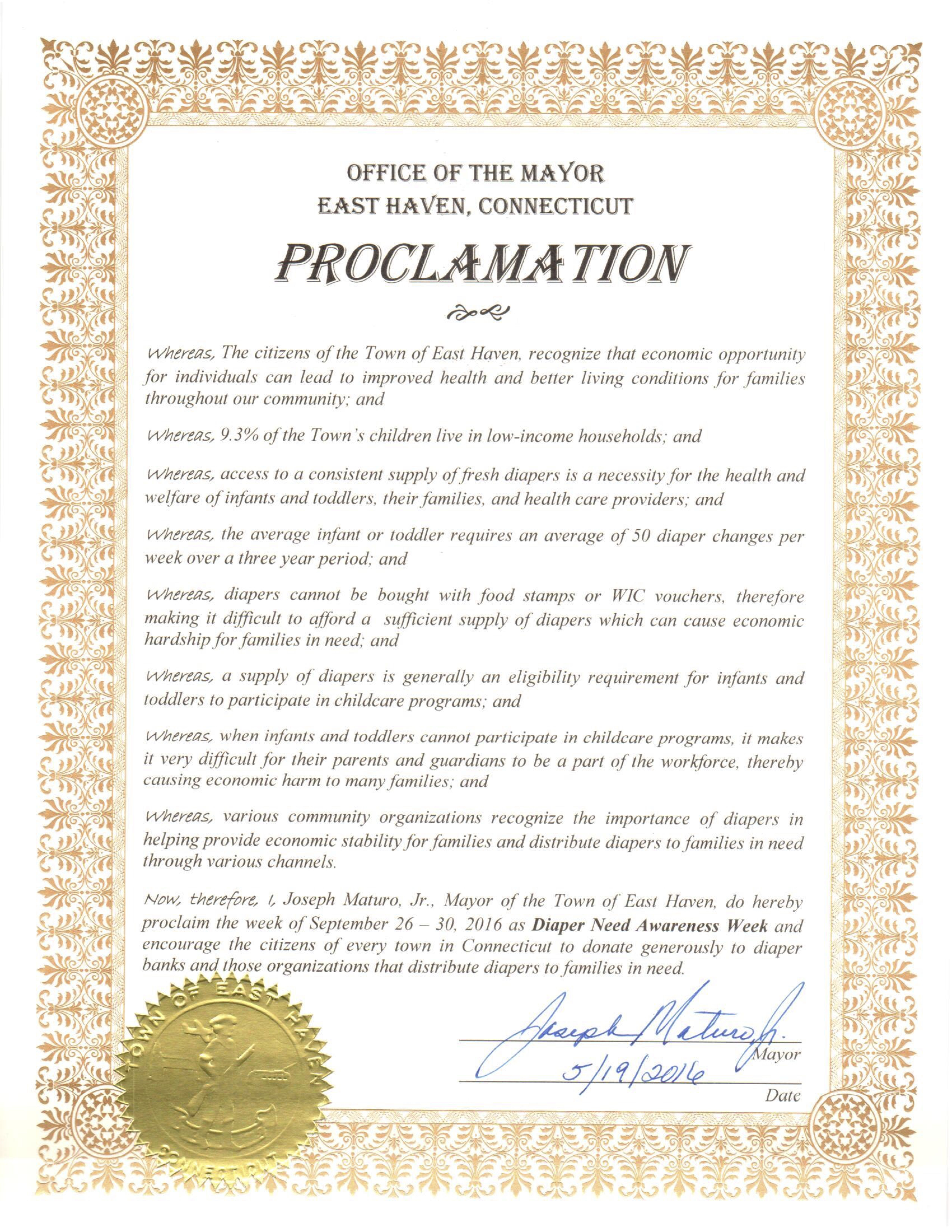 East Haven, CT - Mayoral proclamation recognizing Diaper Need Awareness Week (Sept. 26 - Oct. 2, 2016) #DiaperNeed www.diaperneed.org