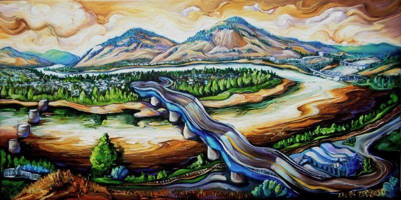 Laura Zerebeski painting of Kamloops
