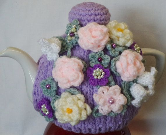 knitted tea cosy violet floral...knitted by peerietreisures