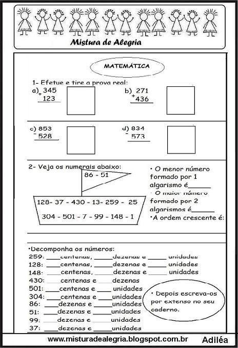 Atividade Matem C3 A1tica Efetue E Tire A Prova Imprimir Jpg 464