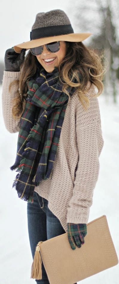 955302190d67 i love this winter look  oversized camel sweater, oversized plaid scarf,  multi-textured hat