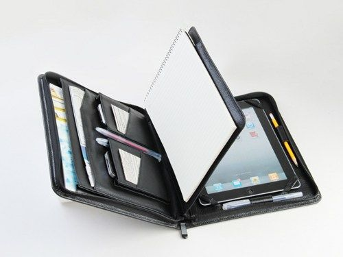 New iPad 3 Portfolio Case with Notepad Leather new iPad Business - leather resume portfolio