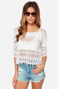 Off to Santorini Ivory Lace Top $48