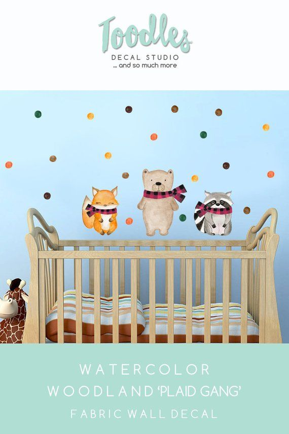 bear wall decal nursery | woodland fabric stickers | boys fabric
