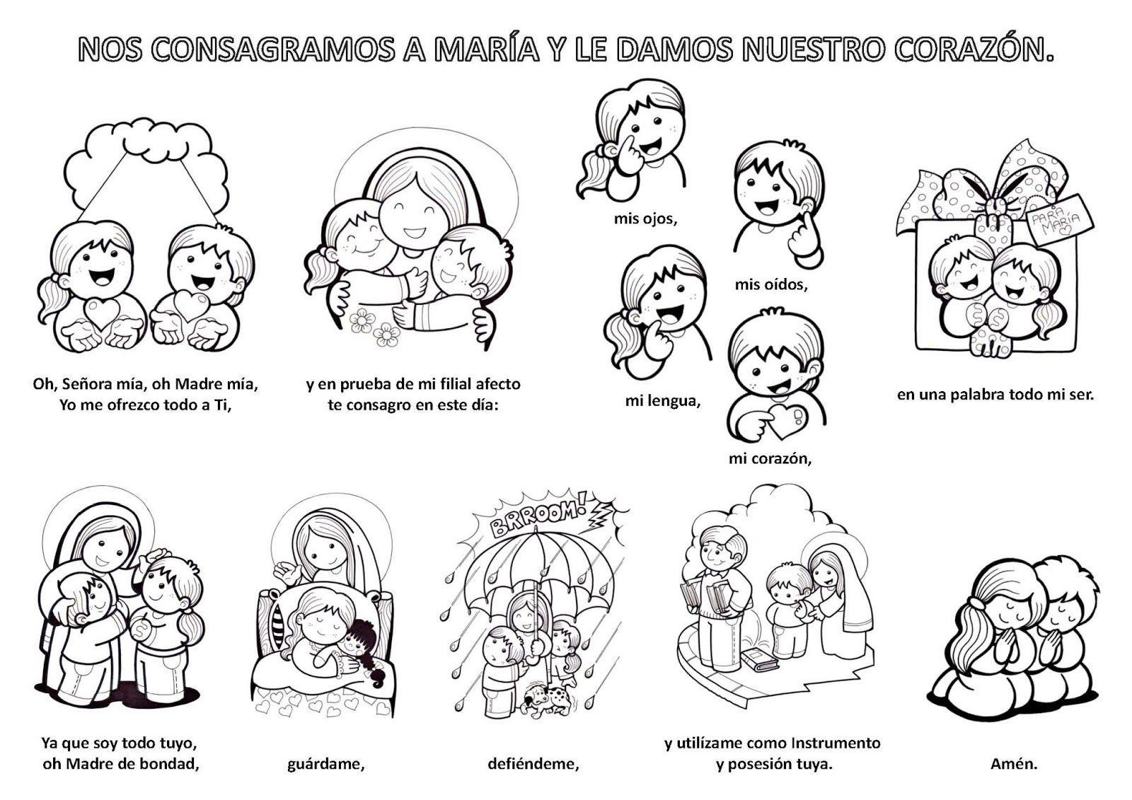 Ilustracion Para Ninos De La Oracion De Consagracion A La Virgen