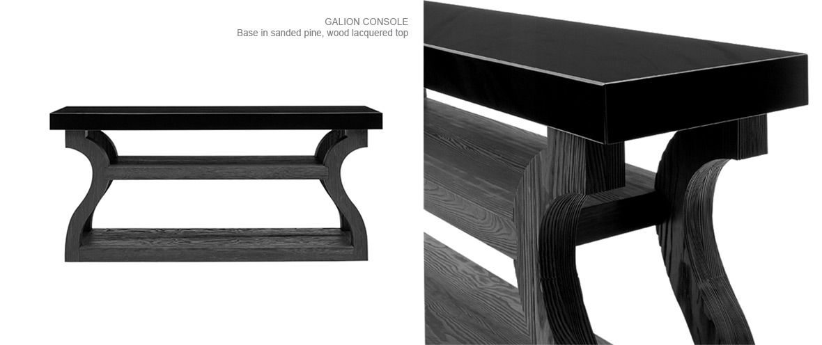 Liaigre Galion Console; Pine with Lacquered Top ...