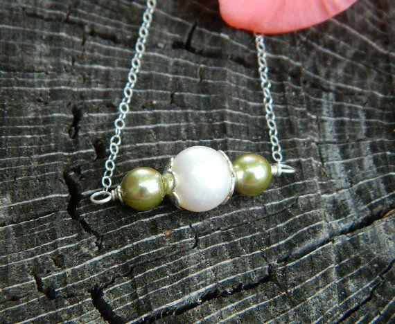 Wedding Jewelry White Pearl Sage swarovski by DanglingJewelry, $22.00