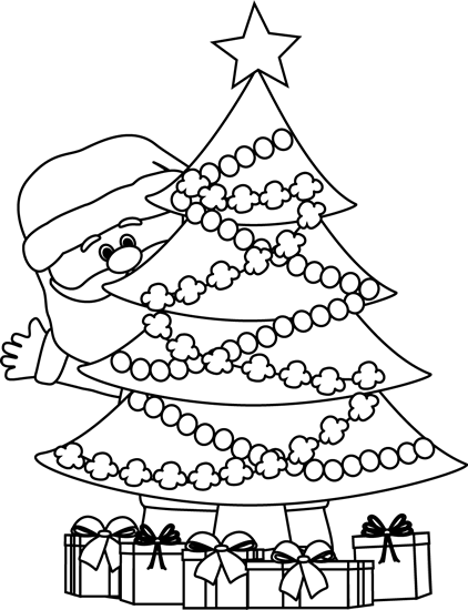 Black And White Santa Behind Christmas Tree Clip Art Black And White Santa Behind Christmas Tree Christmas Kindergarten Christmas School Christmas Worksheets