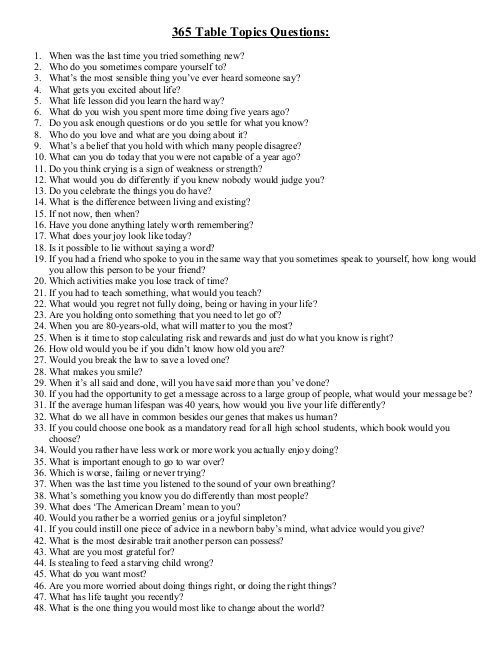 21 Table Topics Questions ideas | this or that questions, table...