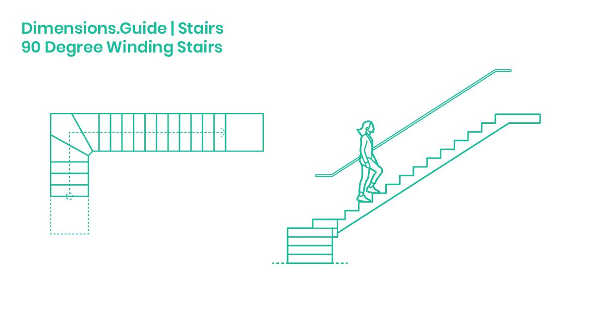 90 Degree Winding Stairs Dimensions Drawings Dimensions Guide