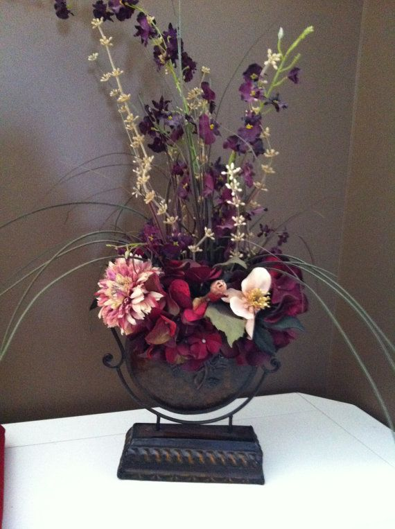 Burgandy Silk Flowers In Bronze Vase Craft Projects Pinterest
