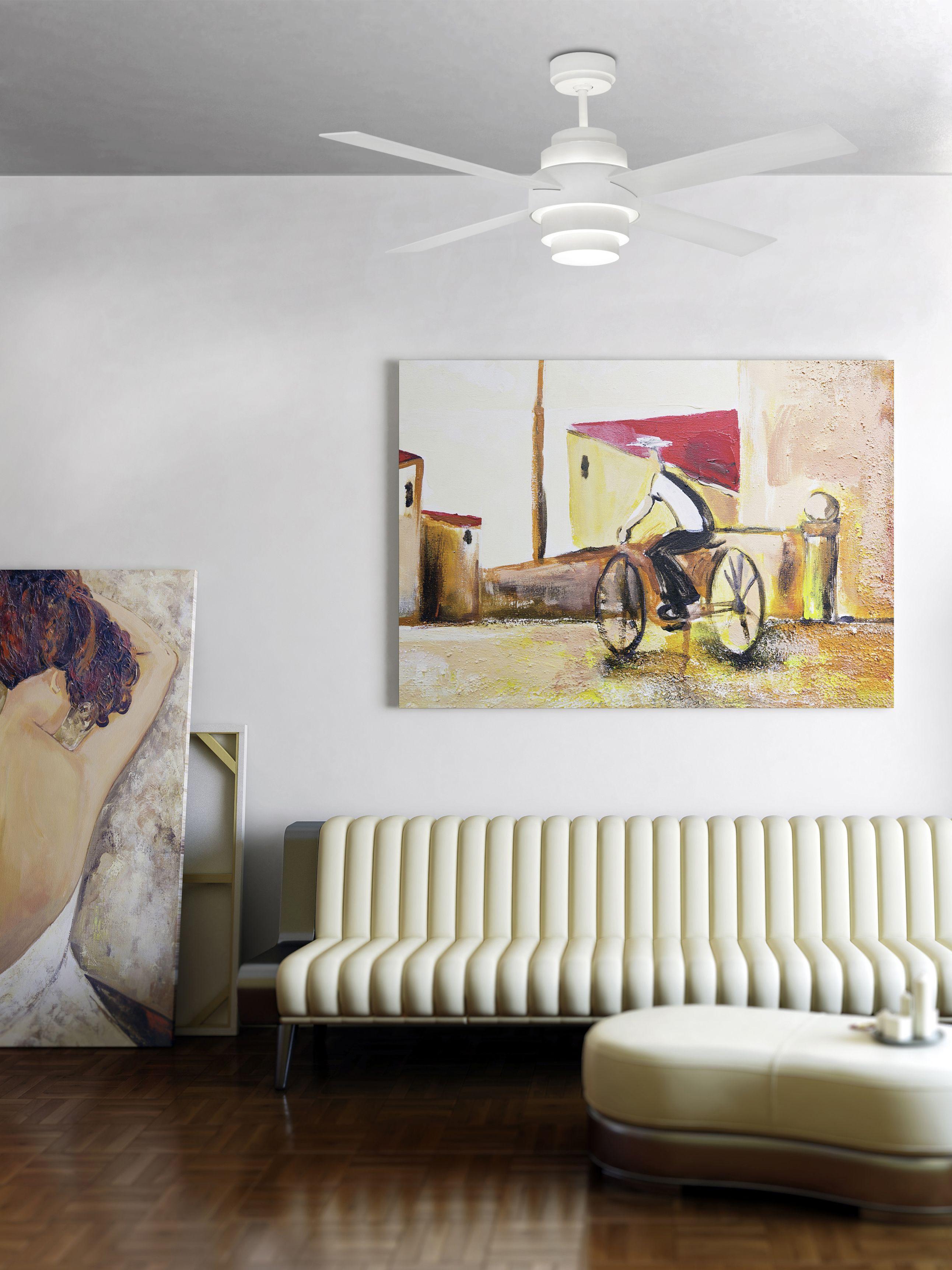 Faro Moderner Deckenventilator Icaria Braun 132 cm mit Licht und Fernbedienung