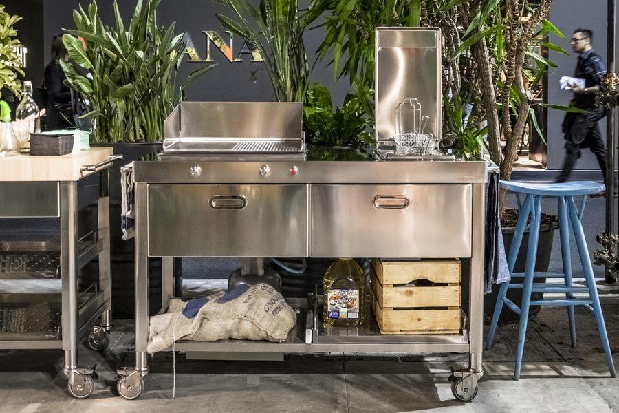 CUCINA OUTDOOR 130 - PLANCHA E FRIGGITRICE (2 Und, Plancha and 2! - edelstahl outdoor küche