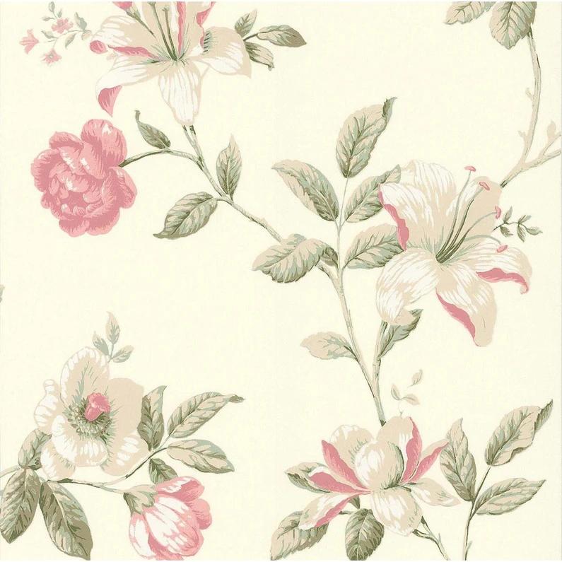 Papier Peint Expanse Fleur Ete Boutique Rose Sur Fond Blanc Leroy Merlin Graphic Wallpaper Wallpaper Decoupage
