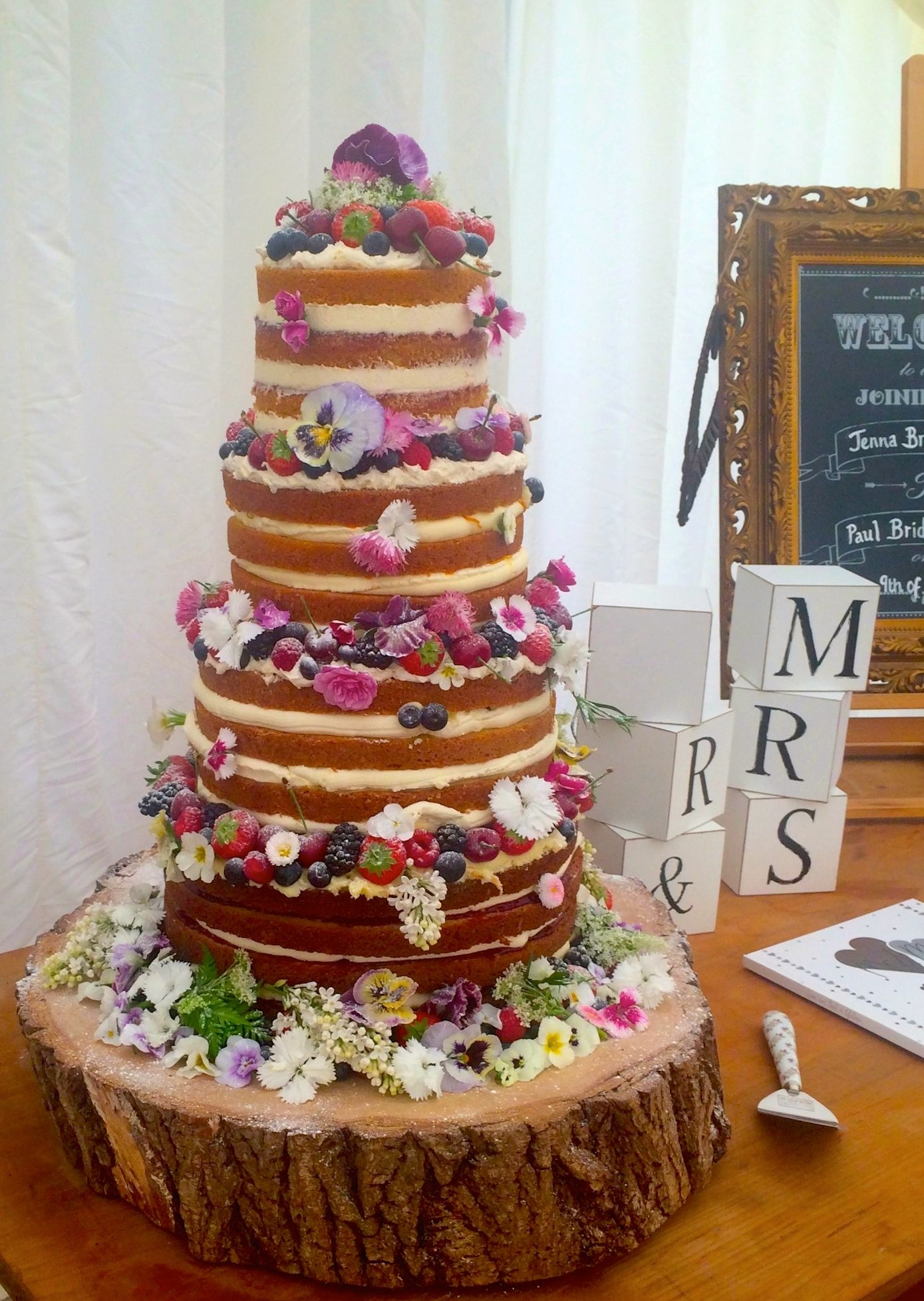 edible flowers for naked wedding cakes from http