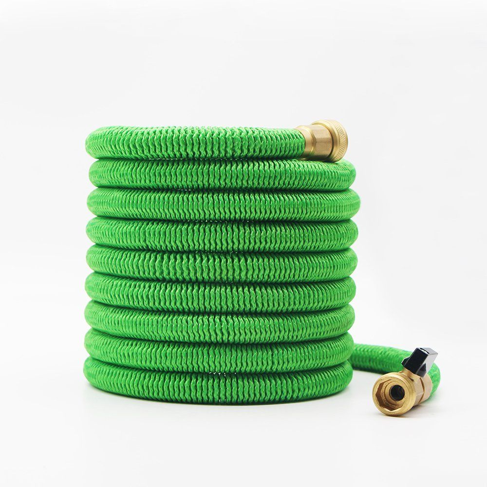 Amazon Com Garden Hose 100 Feet Expandable Hose With All Brass Connectors 8 Pattern Spray And High Pressure Expanding Garden Ho Garden Hose Hose Connectors