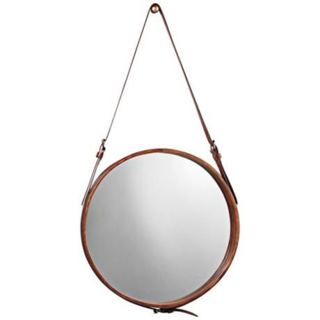 """Jamie Young Leather Strap 29"""" High Round Wall Mirror 