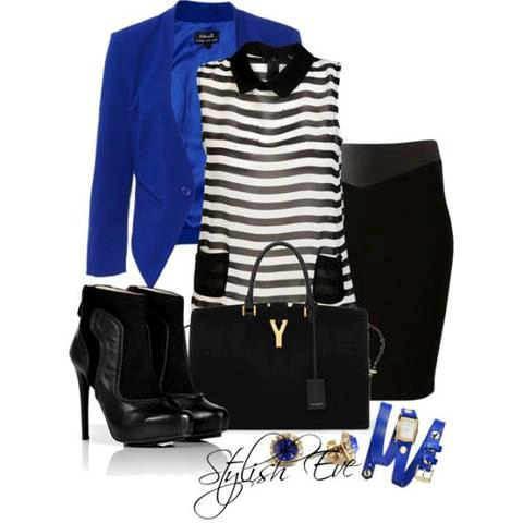 69c1903689 Royal blue blazer, black and white shirt, black fitted skirt ...