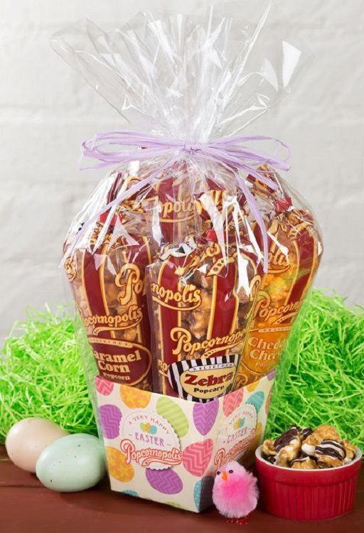 Easter is almost here and these are the perfect easter baskets popcornopolis case of 10 halloween monster mini gift baskets certified gluten free non gmo popcorn popped in pure coconut oil trans fat no high fructose negle Images