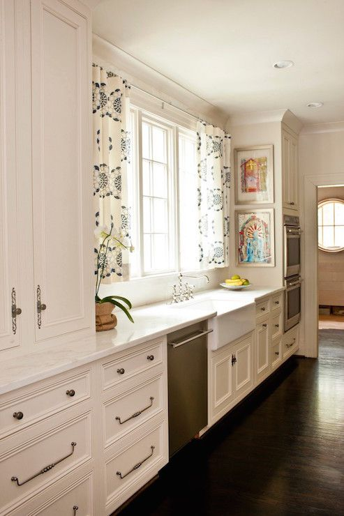 Sun Filled Kitchen White Cabinets Adorned With Antique Nickel Classy White Kitchen Curtains 2018