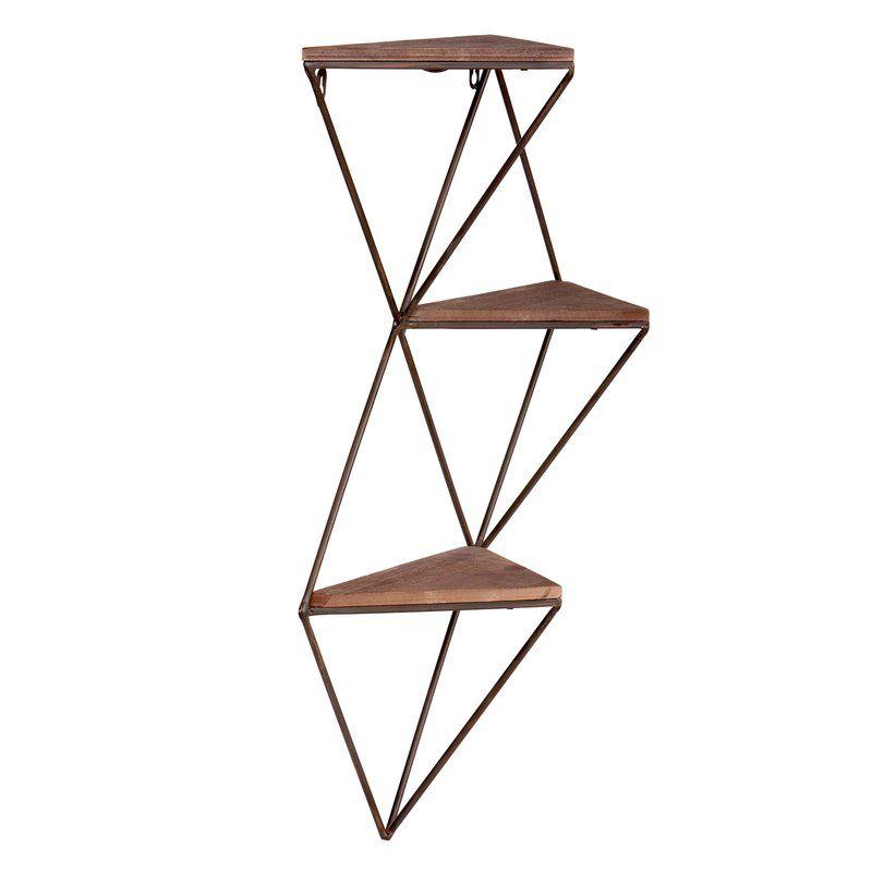 Hagins Three Step Wood Wall Shelf Wood Wall Shelf Triangle Wall