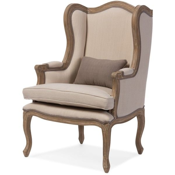 Baxton Studio Oreille French Provincial Style White Wash Distressed... ($490) ❤ liked on Polyvore featuring home, furniture, chairs, accent chairs, beige, baxton studio chair, upholstered arm chair, cream chair, padded chairs and fabric chairs