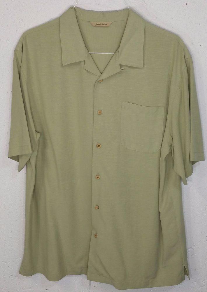 Paradise Collection Mens Green Silk Short Sleeve Button Down Hawaiian Shirt  L  ParadiseCollection  Hawaiian 157a1807ac8