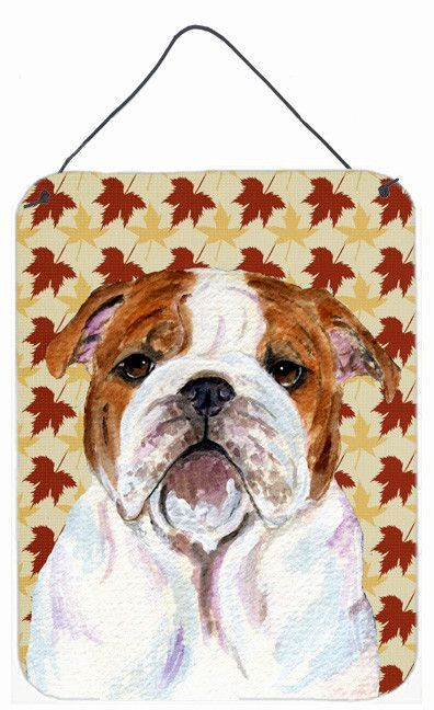 Bulldog English Fall Leaves Portrait Wall or Door Hanging Prints