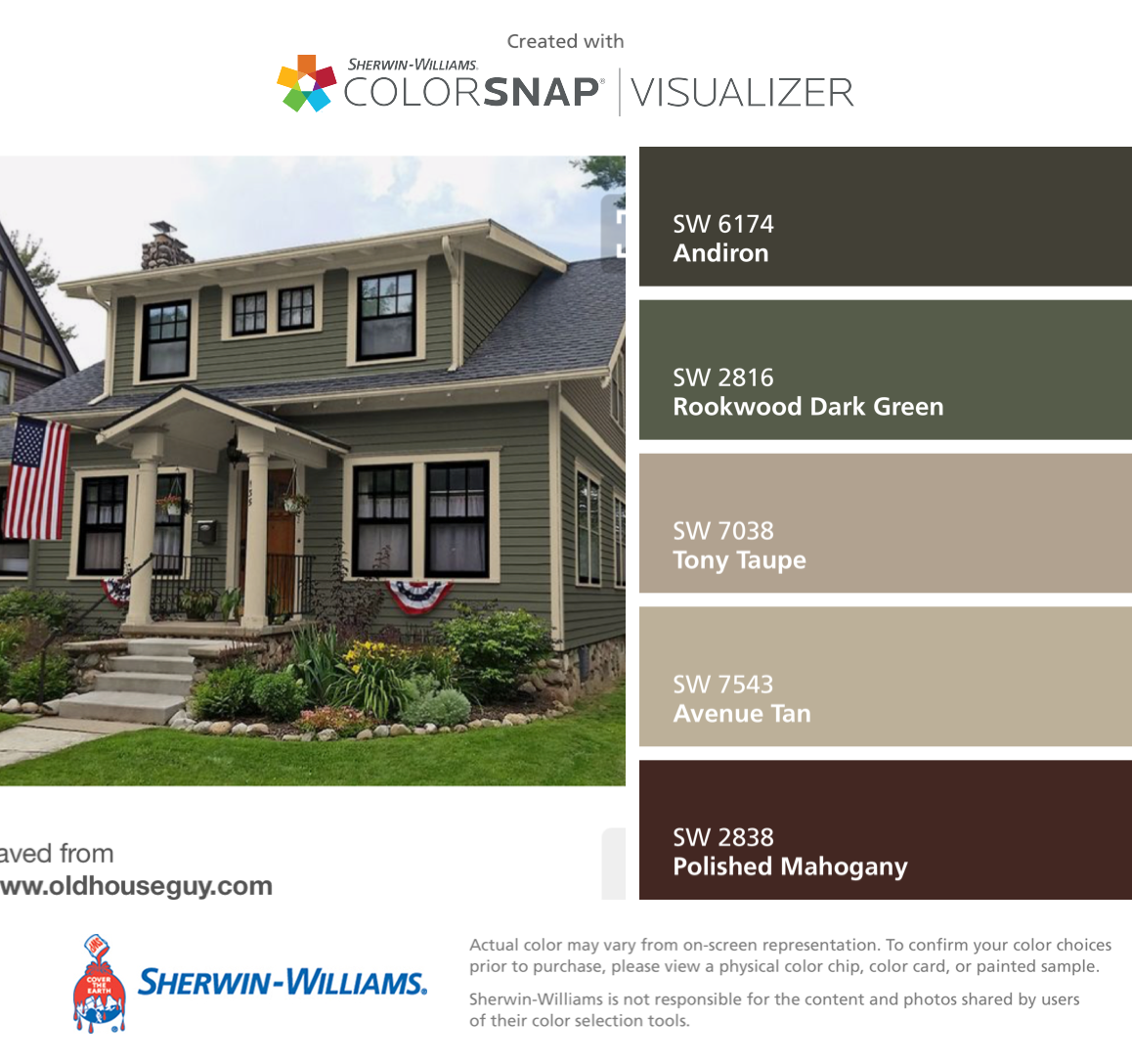 I found these colors with colorsnap visualizer for iphone by sherwin williams andiron sw 6174 for Sherwin williams exterior paint color visualizer